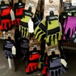 selection of colorful garden gloves