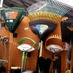 selection of garden rakes