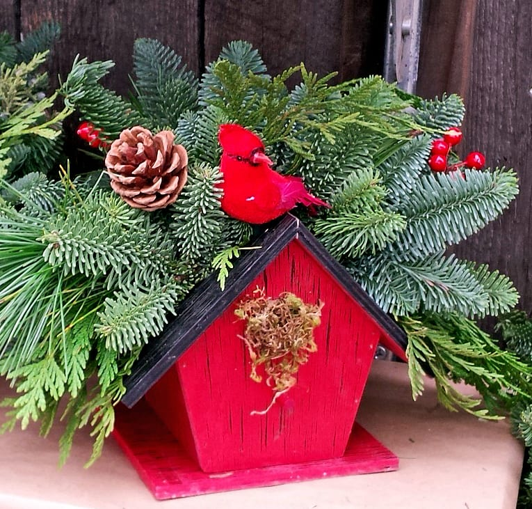 Christmas greens cardinal birdhouse