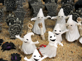 Halloween miniature figurines at city floral greenhouse and garden center