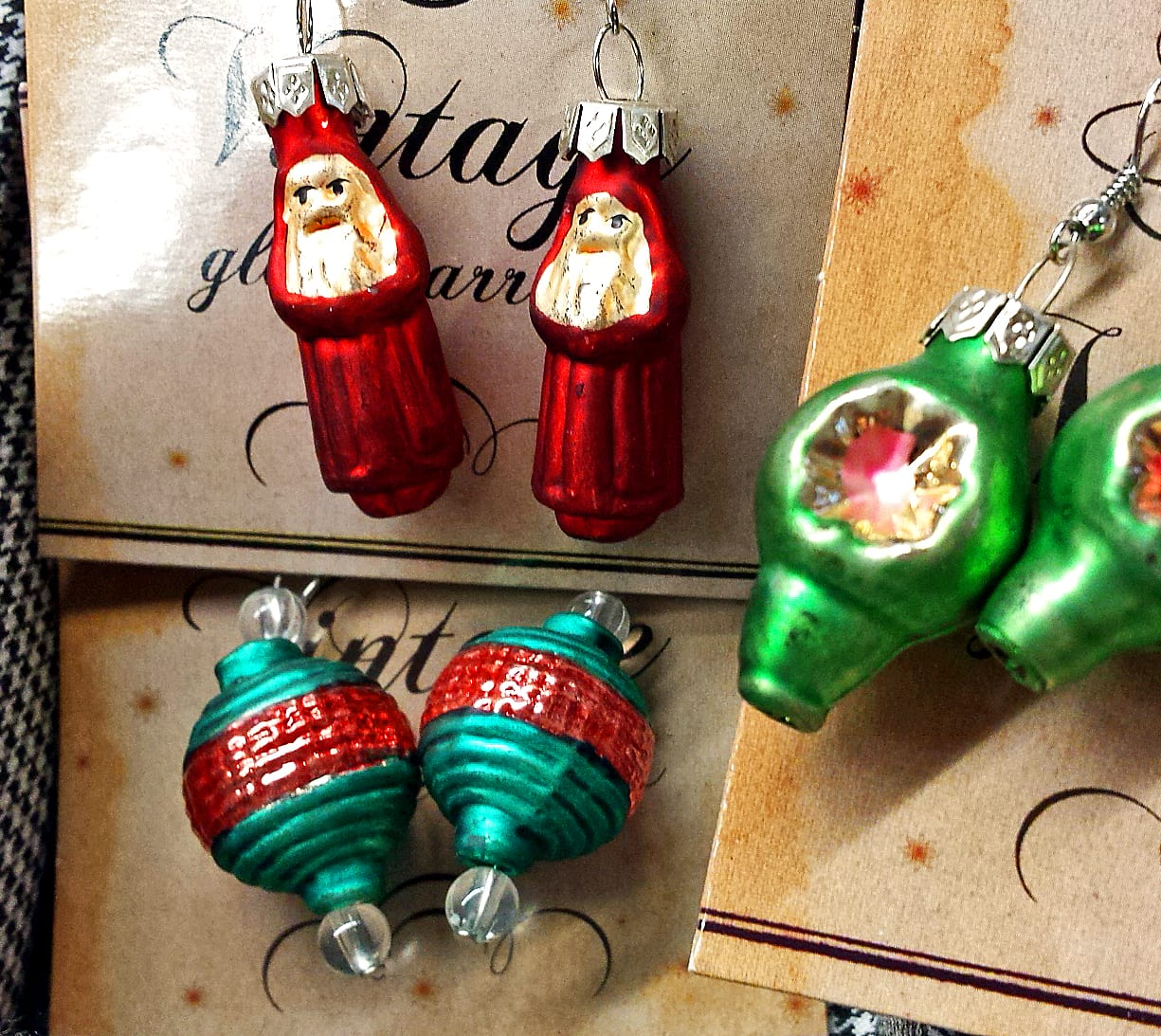 Christmas ornament earrings close up