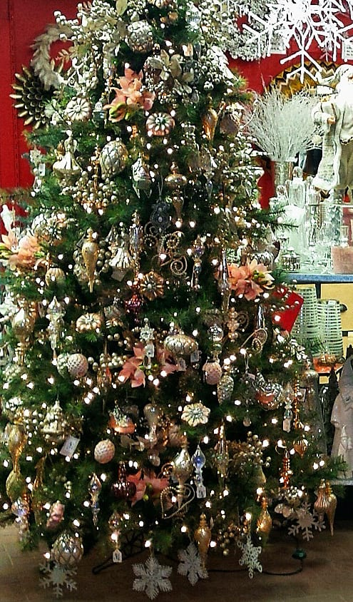 Christmas tree with silver, gold and pink ornaments