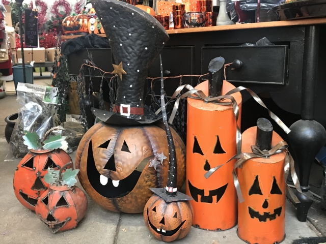 Halloween garden decor at city floral greenhouse and garden center