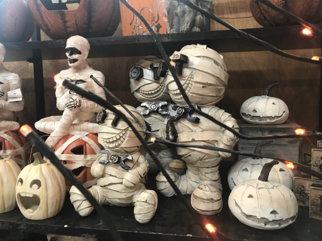 Halloween figurines at city floral greenhouse and garden center