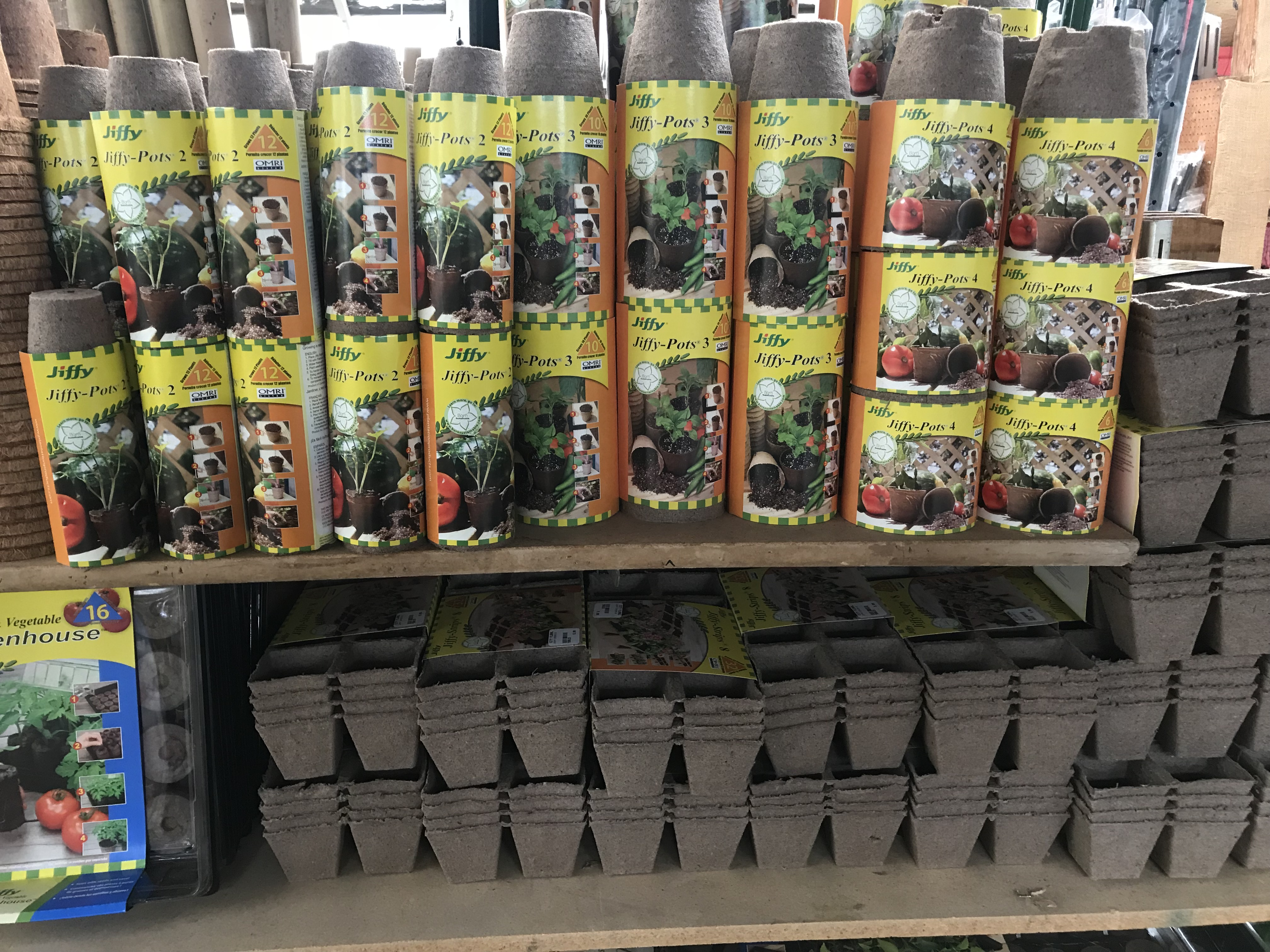 Seed starting pots at city floral greenhouse