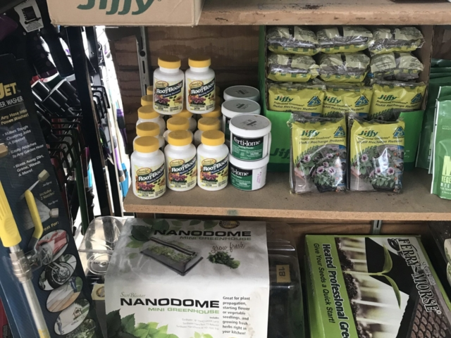 Seed starting and transplanting tools at city floral greenhouse and garden center