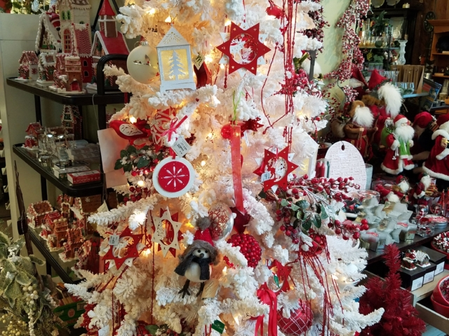 Christmas tree decor at city floral greenhouse and garden center