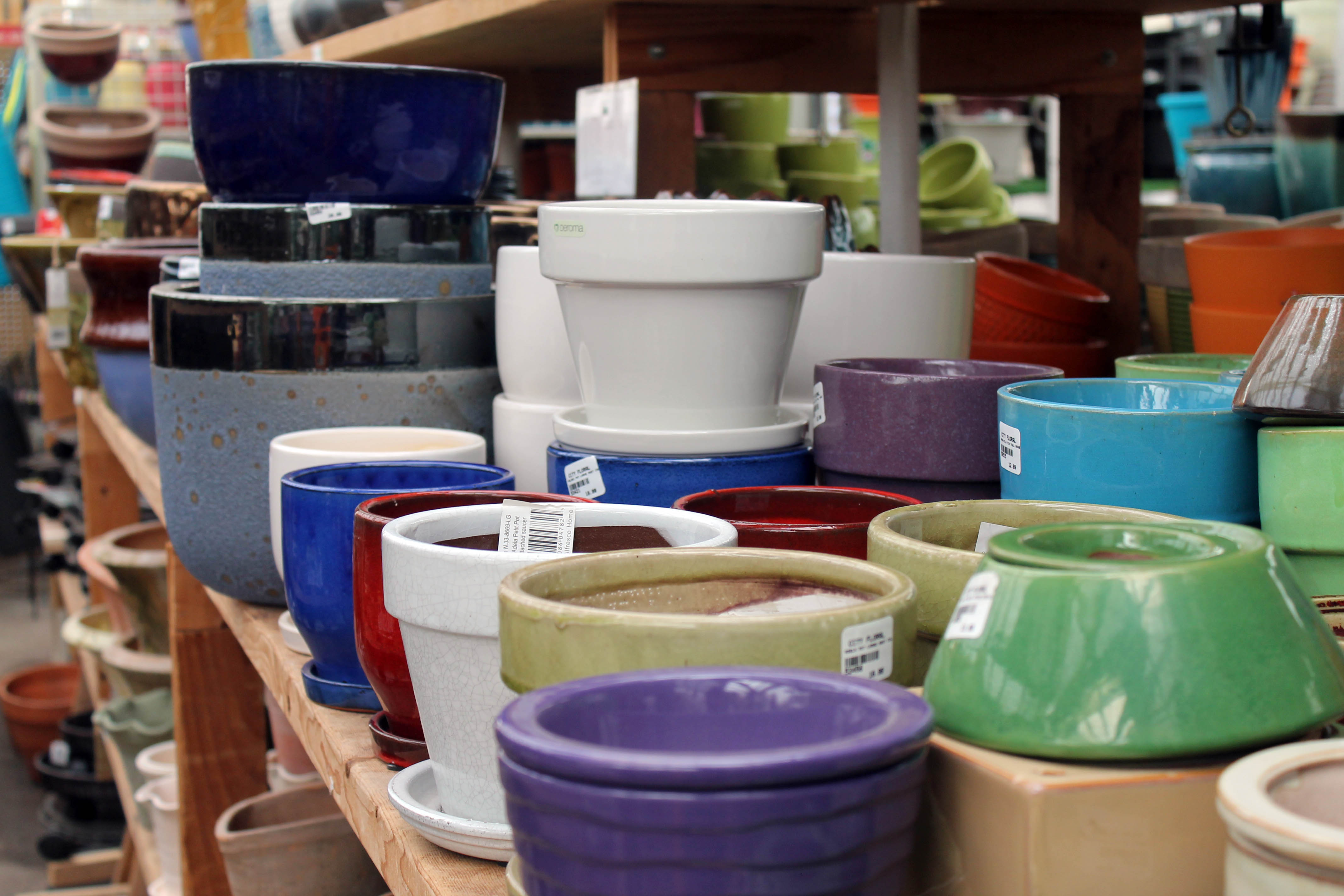 Pot and Container Selection at city floral greenhouse and garden center